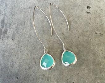 Aqua earrings, wedding earrings, turquoise jewelry