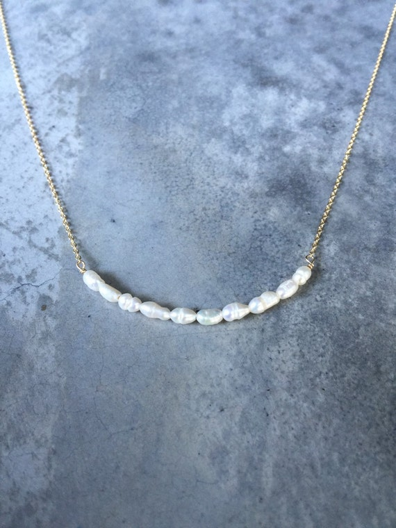 Bridesmaid jewelry, flower girl, Pearl Bar, Bar necklace