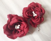 Burgundy red rose hair clips bobby pins boho small floral flower accessories whimsical bridal wedding