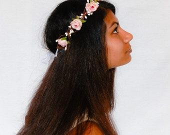 Woodland flower floral crown hair wreath (pink rose) - Wedding headpiece, headband, vintage inspired rose crown