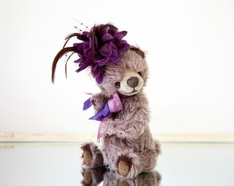 Artist Teddy bear Jennifer + FREE shipping - Lavender Collectible bear - OOAK teddy bear