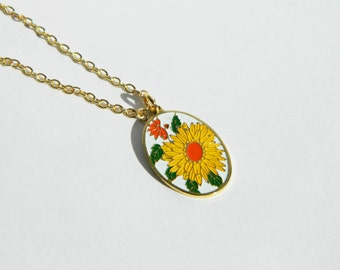 Oval Yellow Flower Necklace