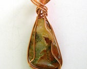 Red Moss Agate Pendant, Wire Wrapped Pendant, Copper, Wire Wrapped Moss Agate, Wire Wrapped Necklace