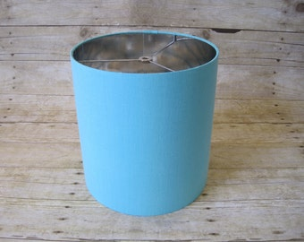 Medium Drum Lamp Shade Lampshade Blue Linen with Metallic Silver Lining - READY TO SHIP