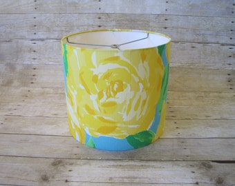 Drum Lamp Shade Lampshade made with Lilly Pulitzer First Impressions Fabric in Yellow - READY TO SHIP