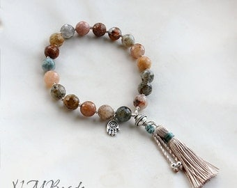 Boho Agate Beaded Tassel Bracelet With Hamsa Sterling Silver Natural Earthy Gemstone Yoga Energy Jewelry Knotted Mala Gift For Her