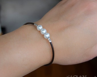 Pearl And Leather Wrap Bracelet Sterling Silver Fresh Water Pearl Boho Chic Trendy Jewelry June Birthstone Birthday Girlfriend Gift For Her