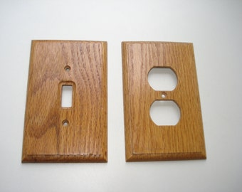 Vintage Light Switch Plate and Plug Outlet Cover -  Rustic Wood, Cottage Chic