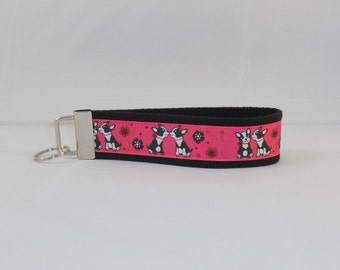 Adorable Keychain Wristlet Made With Boston Terrier Ribbon
