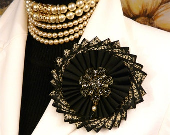 Ribbon Flower Pin Brooch Handmade with Rhinestone Center Piece One of a Kind OOAK Pin Cocarde