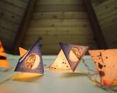 Paper Pyramid Lanterns - MOON PHASES - handmade paper lanterns with the phases of the moon