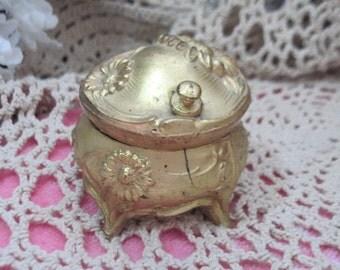 Gold Trinket Box, Small Trinket Box, Trinket Box, Collectible Trinket Box, Vintage Trinket Box, Vintage Home Decor,