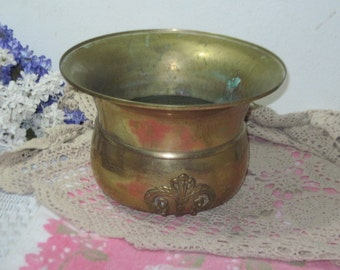 Nice Size Spittoon  Brass Planter ect weighs 4 Pounds / 8 1/2 inches tall, and 11 1/2 inches across it.