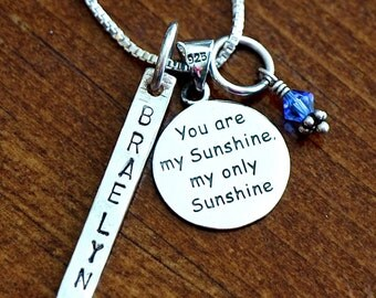 Name Necklace- You Are My Sunshine Charm- Hand Stamped- Sterling Silver- Personalized- Mom Necklace, Daughter Necklace