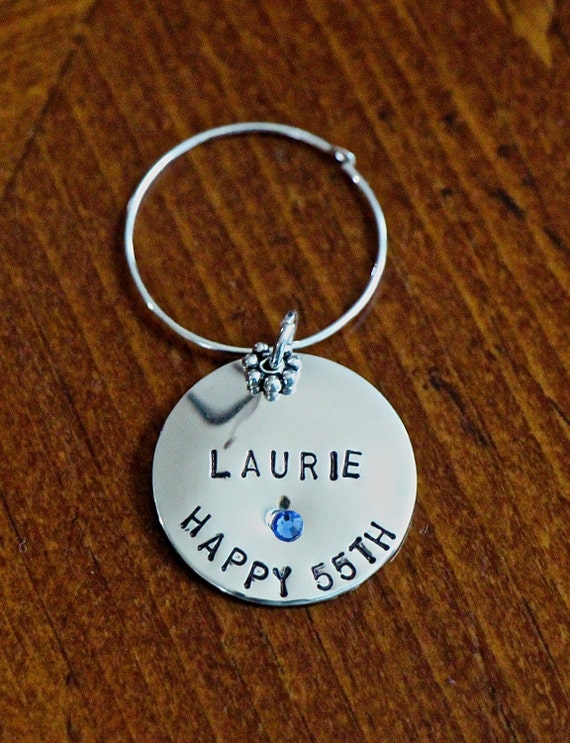 Personalized Wine Charm- Hand Stamped- Sterling Silver- Toasting Gift- Birthday Gift- Anniversary Gift- Wedding Toasting Gift