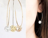 Tiny CZ Hoop Earrings, Gold / Silver Hoop, Clear White / Jonquil Yellow / Dark Champagne, Bridesmaid Gift, CZ