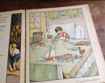 1930 Childs Book A Child's Garden of Verses by Robert Louis Stevenson Brilliantly Colored Full Page Illustrations by Julie Pratt Hardcover