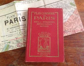 """1951 Paris Tourist Guide ~ """"Leconte"""" """"Guide to Streets of Paris"""" ~ Large Size Original City Map"""