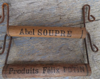 Vintage French Wood Parcel Handles ~ French Advertisement ~ French Farmhouse