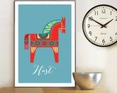 Dala horse print, Swedish Dala horse poster, Mid Century Style, Eames era, scandinavian design, Horse, Häst, Giclee print