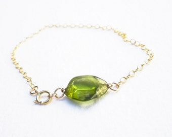 Natural Gemstone Peridot Tumble Polished Baroque Nugget, 14kt Yellow Gold Filled Chain Bracelet