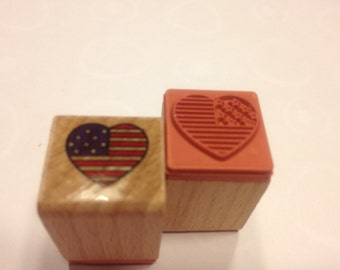small Patriotic heart stamp, 15 mm (BB4/5)