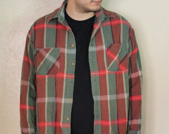 Vintage Red & Green Plaid Flannel