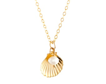 Gold Filled Shell & Pearl Charm Necklace