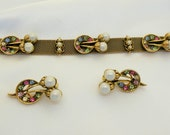Tara Bracelet and Earrings Vintage Rhinestone Jewelry Set
