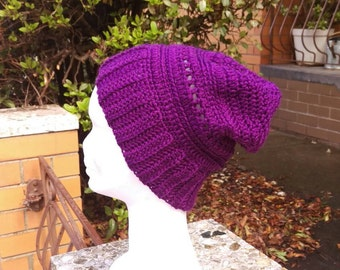 Purple Crochet Slouch Beanie