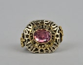 A rare 16th Century natural ruby gold and silver big ring