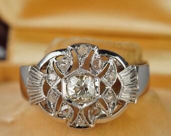 Glorious Art Deco .70 Ct diamond unique ring