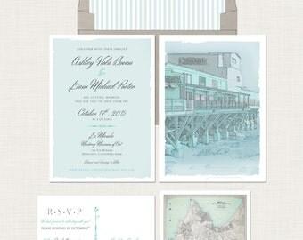 Monterey Carmel California  illustrated wedding invitation and RSVP postcard - Destination wedding invitation Deposit payment
