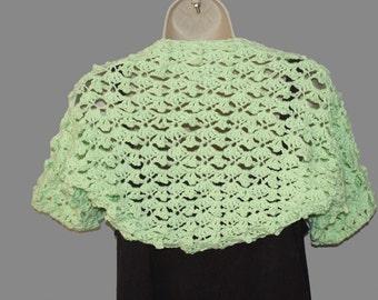 Cotton Shrug, Plus Size, Summer Bolero, Womens Bolero, Mint Green Shrug, Bolero Jacket, Natural Fiber Shrug, Plus Size Clothes, Mint Vest