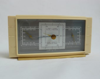 Vintage Airguide Weather Station Thermometer Barometer White Table top 1950's Weather Guage