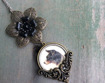 Proud Collie Necklace/Dog/Boho/Victorian/Retro/Mixed Metal