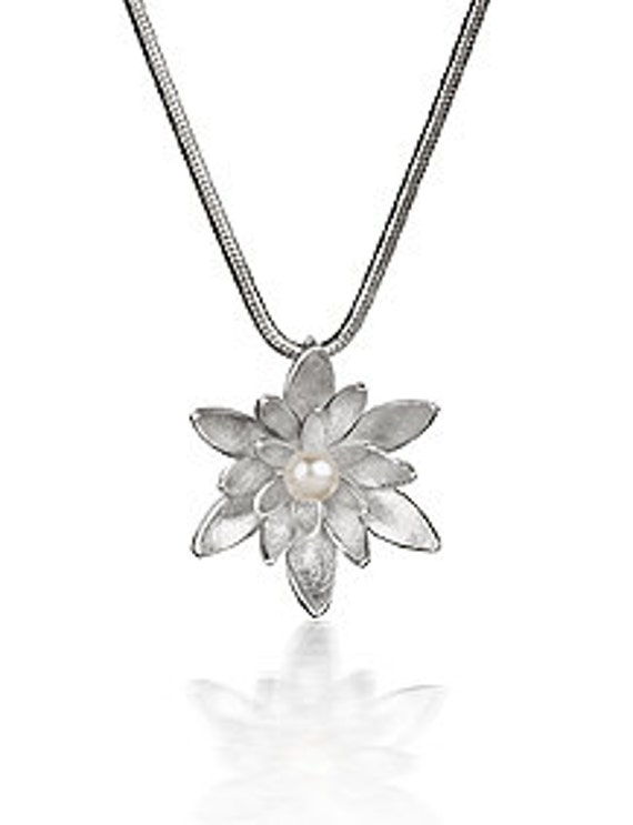 Sterling Silver Water Lily Pendant with white Freshwater Pearl Flower Pendant Wedding Bridesmaid