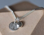 Sterling silver personalised small initial charm with flower pendant on 16 or 18 inch curb chain. Monogram necklace gift for bridesmaids
