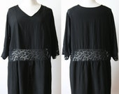 1920's Black silk and lace dress