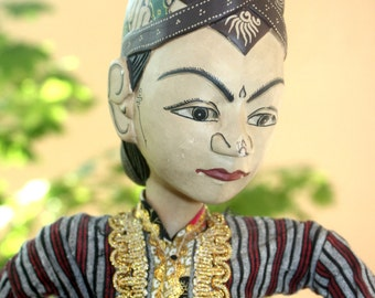 Beautiful Antique Javanese Wayang Golek Rod Puppet, Marionette, Batik, Indonesia, Antique Alchemy