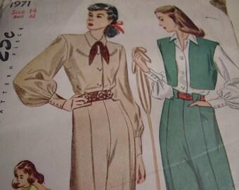 Vintage 1940's Simplicity 1971 Slacks, Bolero and Blouse Sewing Pattern, Size 14, Bust 32