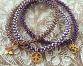 Stackable yoga charm Sahasrara (crown chakra) friendship bracelets
