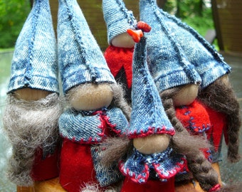 Blue Jean Gnome Peg Doll Family, Waldorf Wooden  Peg Dolls, Upcycled  Miniature Doll
