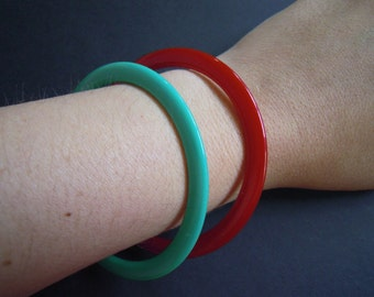 Green and Red Acrylic Bangle Bracelets Vintage