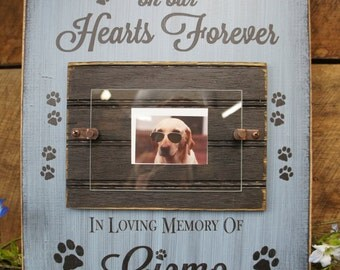 Dog Memorial Picture Photo Frame Dogs Leave Pawprints on our Hearts Forever In Loving Memory Personalized free pawprints give this character