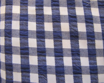 Blue Gingham Pique Cotton Fabric, Gingham, Blue, White, Pique, Cotton, Quilter Weight, 1960, 1970, 1980, Country, Camp, Farmhouse, Check