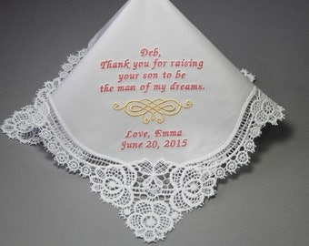 Wedding Handkerchief Personalized to Mother of Groom or Mother in Law Embroidery Custom