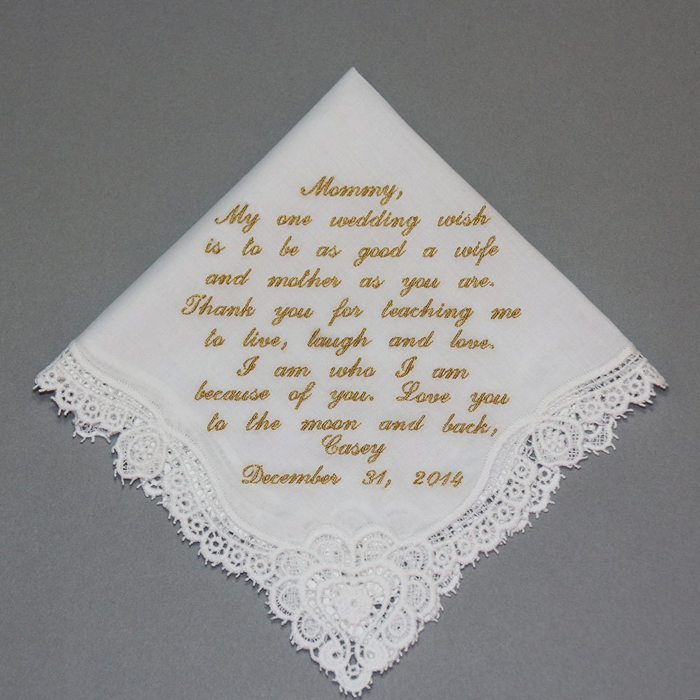 mother of bride embroidered wedding handkerchief personalized