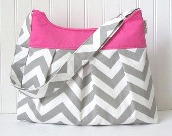 Chevron Pleated Purse Hobo Bag in Gray with Pink or Choose Your Own Bridesmaid Gifts