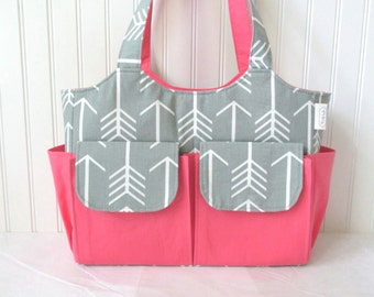 Large Diaper Bag in Gray Arrows and Coral for Baby Girl 10 Pockets Nappy Bag